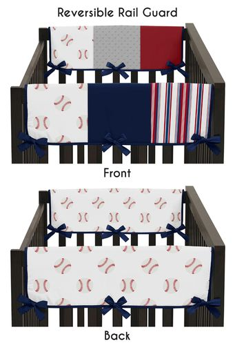 Red, White and Blue Side Crib Rail Guards Baby Teething Cover Protector Wrap for Baseball Patch Sports Collection by Sweet Jojo Designs - Set of 2 - Grey Patchwork Stripe - Click to enlarge