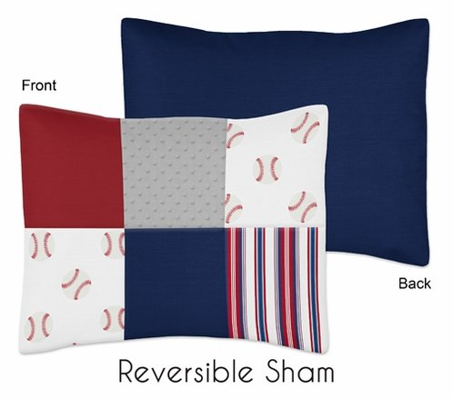 Red, White and Blue Standard Pillow Sham for Baseball Patch Sports Collection by Sweet Jojo Designs - Grey Patchwork Stripe - Click to enlarge