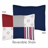 Red, White and Blue Standard Pillow Sham for Baseball Patch Sports Collection by Sweet Jojo Designs - Grey Patchwork Stripe