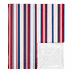Red White and Blue Stripe Baby Boy Blanket Receiving Security Swaddle for Newborn or Toddler Nursery Car Seat Stroller Soft Minky by Sweet Jojo Designs - Sports Americana for the Baseball Patch Collection