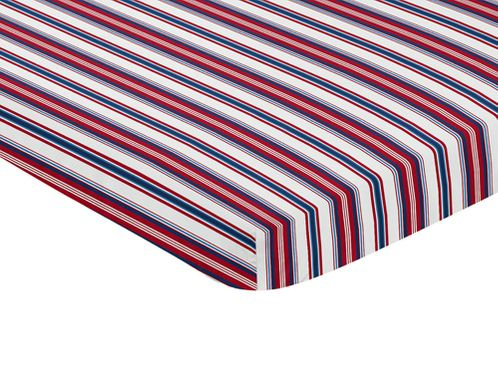Red, White and Blue Stripe Baby Fitted Mini Portable Crib Sheet for Baseball Patch Sports Collection by Sweet Jojo Designs - Click to enlarge