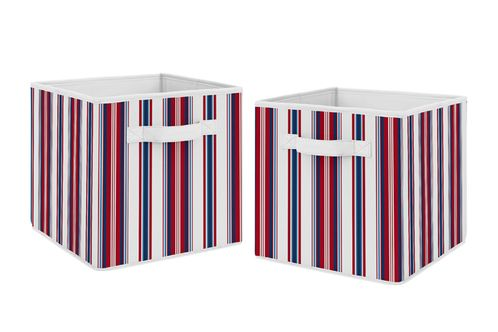 Red, White and Blue Stripe Foldable Fabric Storage Cube Bins Boxes Organizer Toys Kids Baby Childrens by Sweet Jojo Designs - Set of 2 - for the Baseball Sports Collection - Click to enlarge