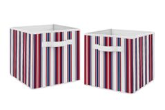 Red, White and Blue Stripe Foldable Fabric Storage Cube Bins Boxes Organizer Toys Kids Baby Childrens by Sweet Jojo Designs - Set of 2 - for the Baseball Sports Collection