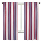 Red, White and Blue Stripe Window Treatment Panels for Nautical Nights Collection - Set of 2
