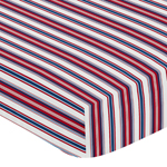 Red, White and Blue Striped Baby or Toddler Fitted Crib Sheet for Baseball Patch Sports Collection by Sweet Jojo Designs