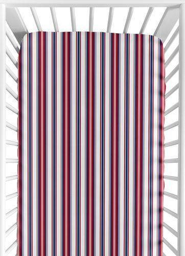 Red, White and Blue Striped Baby or Toddler Fitted Crib Sheet for Baseball Patch Sports Collection by Sweet Jojo Designs - Click to enlarge