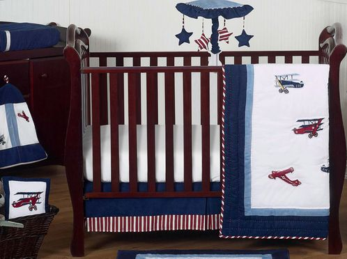 Red, White and Blue Vintage Aviator Airplane Baby Bedding - 11pc Crib Set - Click to enlarge