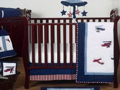 Red, White and Blue Vintage Aviator Airplane Baby Bedding - 11pc Crib Set