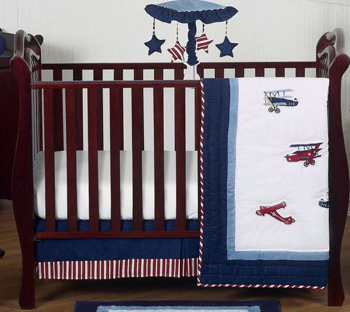 Aviator Airplane Baby Boy Nursery Crib Bedding Set by Sweet Jojo Designs - 4 pieces - Red, White and Blue Vintage - Click to enlarge