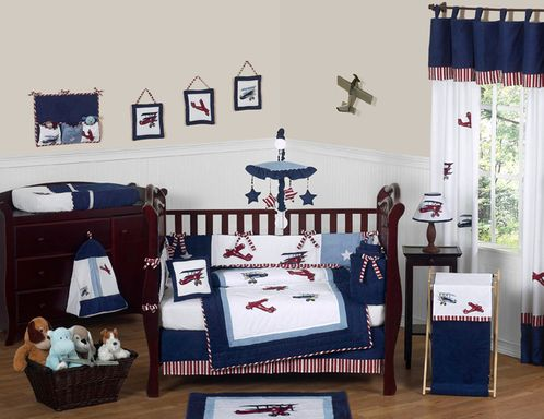 Red, White and Blue Vintage Aviator Airplane Baby Bedding - 9 pc Crib Set - Click to enlarge