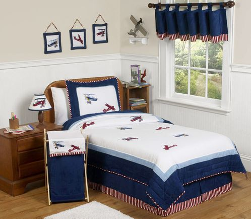 Red, White and Blue Vintage Aviator Airplane Childrens Bedding - 3 pc Full / Queen Set - Click to enlarge