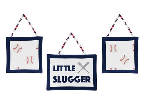 Red, White and Blue Wall Hanging Decor for Baseball Patch Sports Collection by Sweet Jojo Designs - Set of 3 - Little Slugger - Click to enlarge