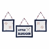 Red, White and Blue Wall Hanging Decor for Baseball Patch Sports Collection by Sweet Jojo Designs - Set of 3 - Little Slugger