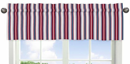 Red, White and Blue Stripe Window Valance for Nautical Nights Collection by Sweet Jojo Designs - Click to enlarge