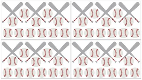 Red White And Grey L Stick Wall Decal Stickers Art Nursery Decor For Baseball Patch Sports Collection By Sweet Jojo Designs Set Of 4 Sheets
