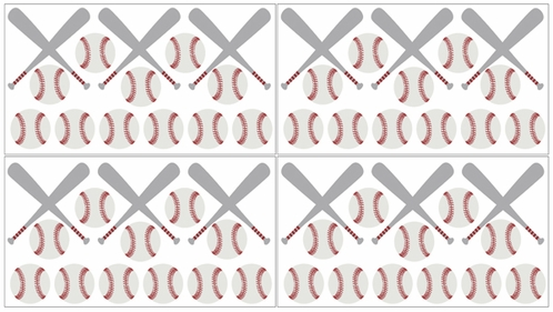 Red, White and Grey Peel and Stick Wall Decal Stickers Art Nursery Decor for Baseball Patch Sports Collection by Sweet Jojo Designs - Set of 4 Sheets - Gray - Click to enlarge