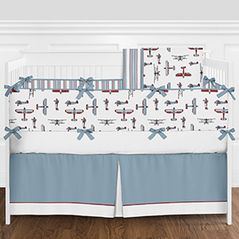 Red, White, Blue and Grey Vintage Airplane Aviator Baby Boy Crib Bedding Set with Bumper by Sweet Jojo Designs - 9 pieces