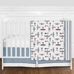 Red, White, Blue and Grey Vintage Airplane Aviator Baby Boy Crib Bedding Set without Bumper by Sweet Jojo Designs - 4 pieces