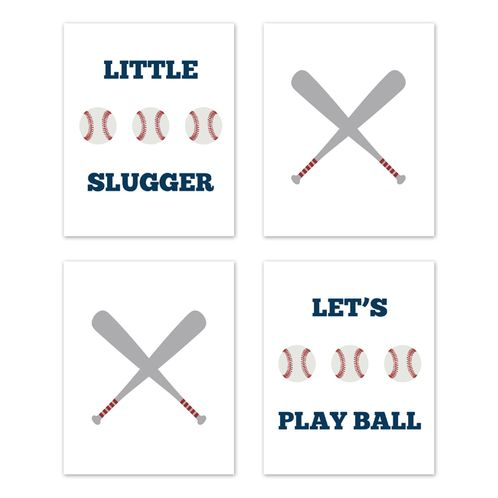 Red, White, Blue and Grey Wall Art Prints Room Decor for Baby, Nursery, and Kids for Baseball Patch Sports Collection by Sweet Jojo Designs - Set of 4 - Play Ball Little Slugger - Click to enlarge