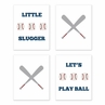 Red, White, Blue and Grey Wall Art Prints Room Decor for Baby, Nursery, and Kids for Baseball Patch Sports Collection by Sweet Jojo Designs - Set of 4 - Play Ball Little Slugger