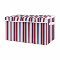 Red White Blue Stripe Boy Small Fabric Toy Bin Storage Box Chest For Baby Nursery or Kids Room by Sweet Jojo Designs - Sports Americana for the Baseball Patch Collection