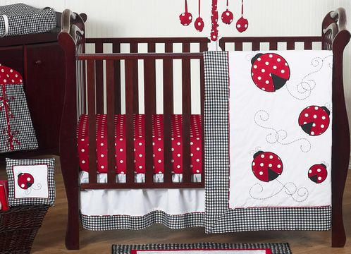 Red & White Polka Dot Ladybug Baby Bedding - 11pc Crib Set - Click to enlarge