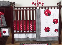 Red & White Polka Dot Ladybug Baby Bedding - 11pc Crib Set