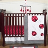 Red & White Polka Dot Ladybug Baby Bedding - 4pc Crib Set