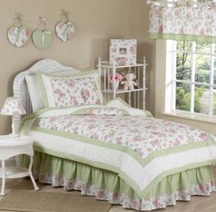 Riley's Roses Chenille Floral Childrens Bedding - 4 pc Twin Set