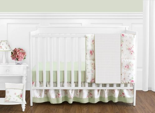 Riley's Roses Floral Baby Bedding - 11pc Crib Set - Click to enlarge