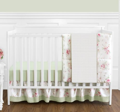 Riley's Roses Floral Baby Bedding - 4pc Crib Set - Click to enlarge