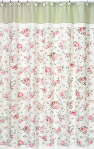 Riley's Roses Kids Bathroom Fabric Bath Shower Curtain - Click to enlarge