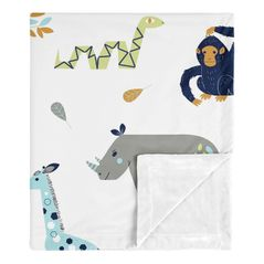 Safari Animals Baby Boy Receiving Security Swaddle Blanket for Newborn or Toddler Nursery Car Seat Stroller Soft Minky by Sweet Jojo Designs - Turquoise and Navy Blue Mod Jungle Lion Monkey Giraffe