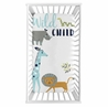 Safari Animals Boy Fitted Crib Sheet Baby or Toddler Bed Nursery Photo Op by Sweet Jojo Designs - Turquoise and Navy Blue Mod Jungle Lion Giraffe