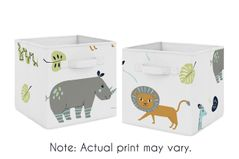 Safari Animals Foldable Fabric Storage Cube Bins Boxes Organizer Toys Kids Baby Childrens by Sweet Jojo Designs - Set of 2 - Turquoise and Navy Blue Mod Jungle Lion Monkey Giraffe