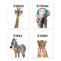 Safari Jungle Animal Wall Art Prints Room Decor for Baby, Nursery, and Kids by Sweet Jojo Designs - Set of 4 - Elephant Giraffe Lion Zebra Be Brave