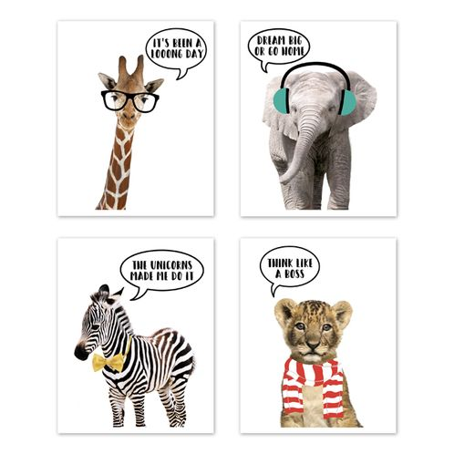 Safari Jungle Animal Wall Art Prints Room Decor For Baby Nursery And Kids By Sweet Jojo Designs Set Of 4 Elephant Giraffe Lion Zebra Dream