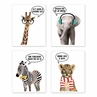 Safari Jungle Animal Wall Art Prints Room Decor for Baby, Nursery, and Kids by Sweet Jojo Designs - Set of 4 - Elephant Giraffe Lion Zebra Dream Big