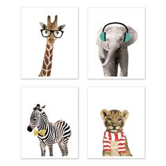 Safari Jungle Animal Wall Art Prints Room Decor for Baby, Nursery, and Kids by Sweet Jojo Designs - Set of 4 - Elephant Giraffe Lion Zebra Funny
