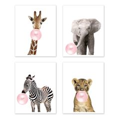 Safari Jungle Animal Wall Art Prints Room Decor for Baby, Nursery, and Kids by Sweet Jojo Designs - Set of 4 - Elephant Giraffe Lion Zebra Pink Bubble Gum