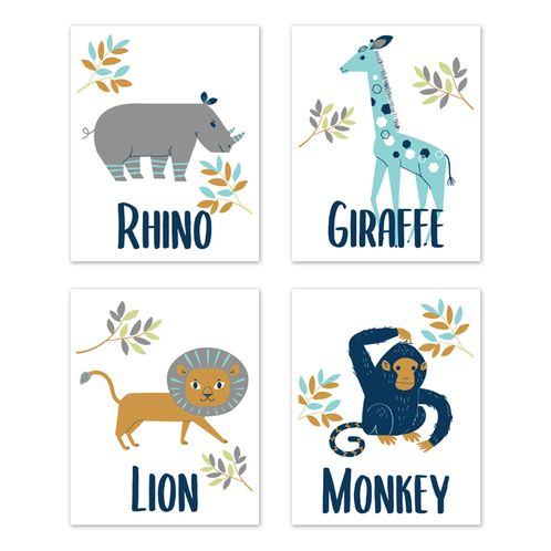 Safari Jungle Animal Wall Art Prints Room Decor for Baby, Nursery, and Kids by Sweet Jojo Designs - Set of 4 - Mod Turquoise, Navy Blue, Orange and Grey Rhino Giraffe Lion Monkey Zoo - Click to enlarge