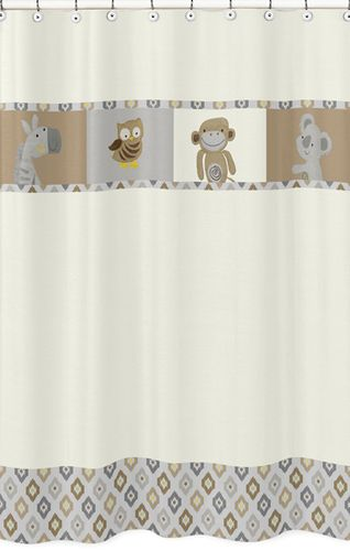 Safari Outback Jungle Kids Bathroom Fabric Bath Shower Curtain by Sweet Jojo Designs - Click to enlarge