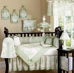 Sage French Toile Baby Bedding - 9pc Crib Set