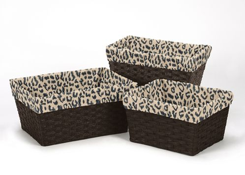 Set of 3 One Size Fits Most Basket Liners for Animal Safari Bedding Sets by Sweet Jojo Designs - Click to enlarge