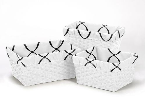 Set of 3 One Size Fits Most Basket Liners for Black and White Princess Bedding Sets - Click to enlarge