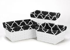 Set of 3 One Size Fits Most Basket Liners for Black and White Trellis Bedding Sets