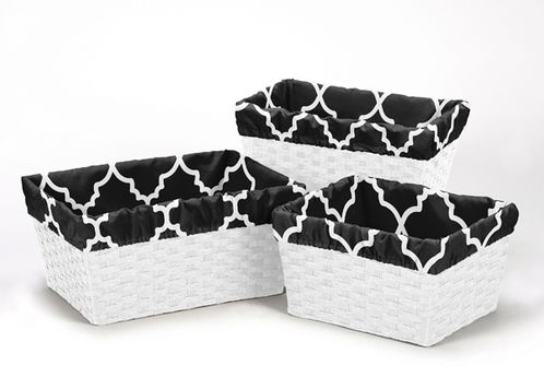 Set of 3 One Size Fits Most Basket Liners for Black and White Trellis Bedding Sets - Click to enlarge