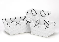 Set of 3 One Size Fits Most Basket Liners for Black, White and Pink Princess Bedding Sets