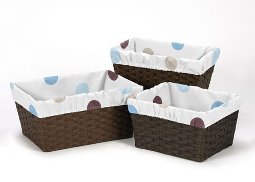 Set of 3 One Size Fits Most Basket Liners for Blue and Chocolate Mod Dots Bedding Sets - Click to enlarge