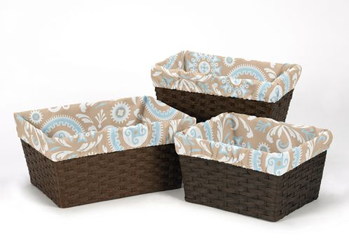 Set of 3 One Size Fits Most Basket Liners for Blue and Taupe Hayden Bedding Sets - Click to enlarge